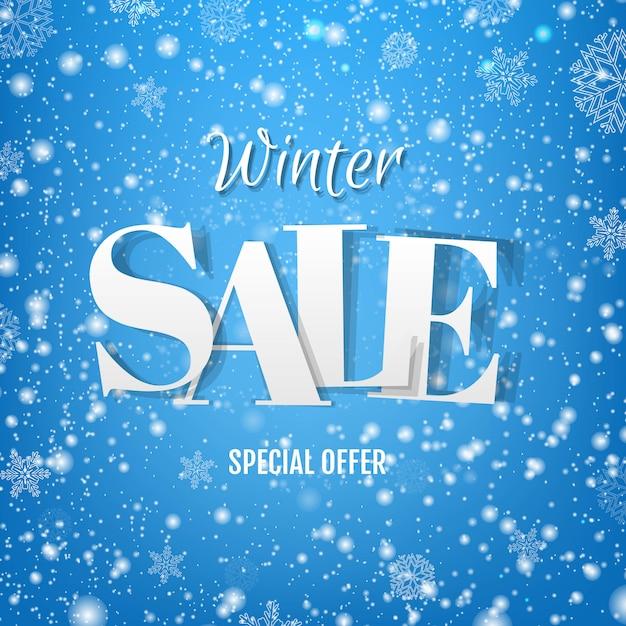 Bandiera blu di vendita di inverno con neve Vettore Premium