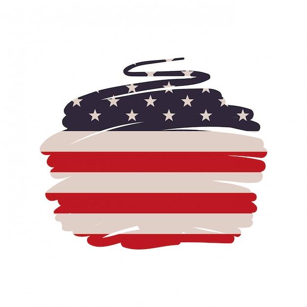 Bandiera degli stati uniti isolata Vettore Premium