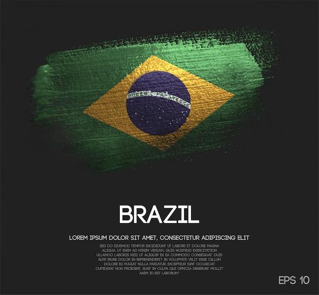 Bandiera del brasile fatta di glitter sparkle brush paint vector Vettore Premium