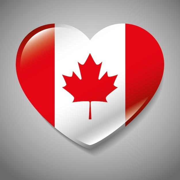 Bandiera del canada con progettazione dell'illustrazione di vettore di forma del cuore Vettore Premium