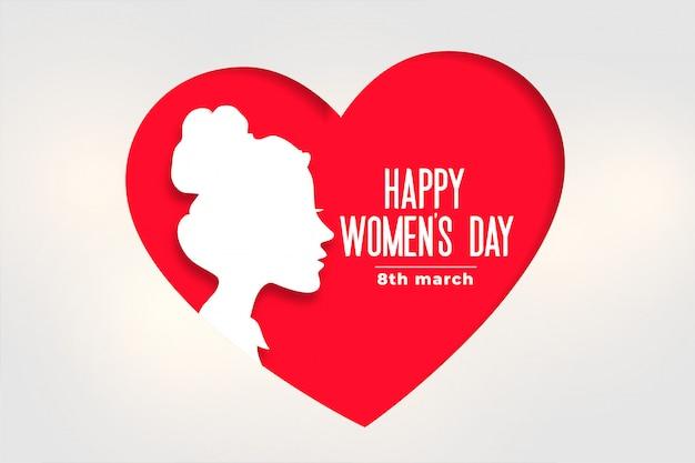 Bandiera del giorno delle donne felici con viso e cuore Vettore gratuito