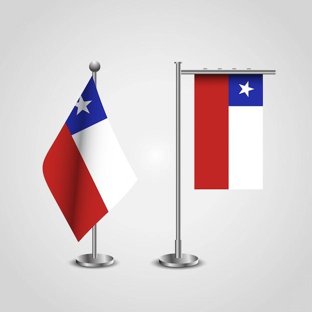 Bandiera del paese cile su pole Vettore Premium