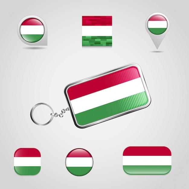Bandiera del paese ungheria su stile portachiavi e mappa pin diverso Vettore Premium