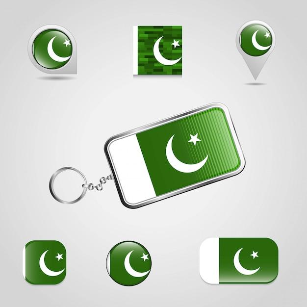 Bandiera del pakistan con il vettore di design creativo Vettore Premium