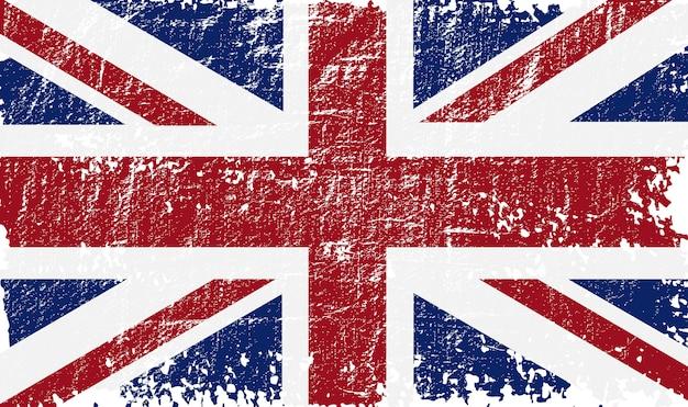 Bandiera del regno unito grunge Vettore Premium