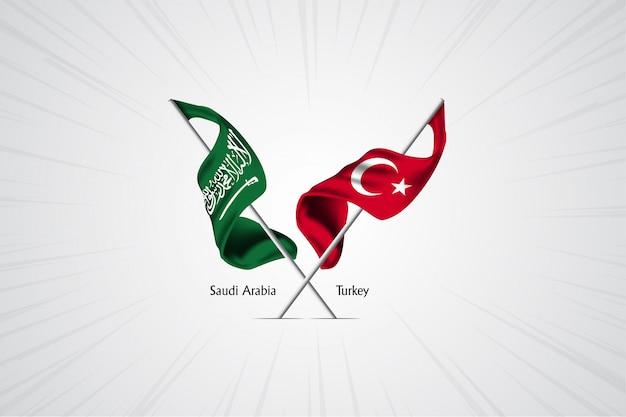Bandiera dell'arabia saudita con bandiera della turchia Vettore Premium