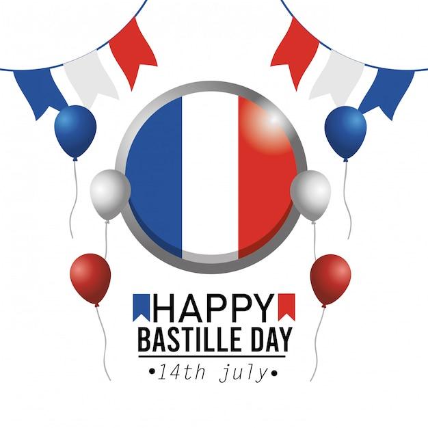 Bandiera dell'emblema della francia del cerchio con l'insegna del partito Vettore gratuito