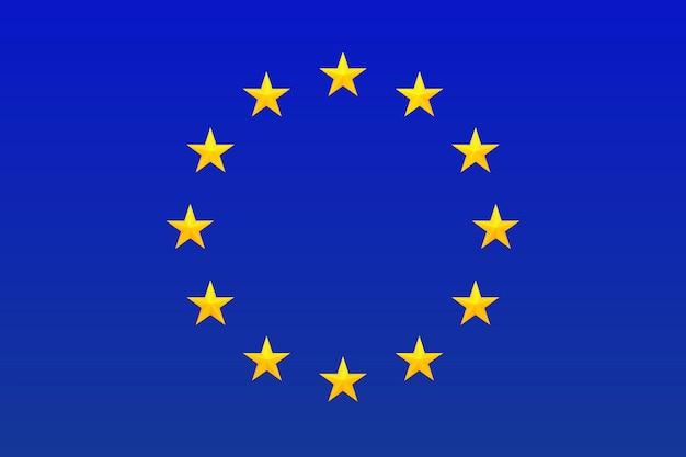 Bandiera dell'europa. simbolo dell'unione europea. cerchio di stelle luminose, oro isolato su sfondo blu Vettore Premium