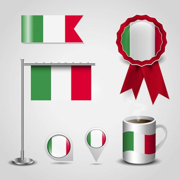Bandiera dell'italia con il vettore di disegno creativo Vettore gratuito