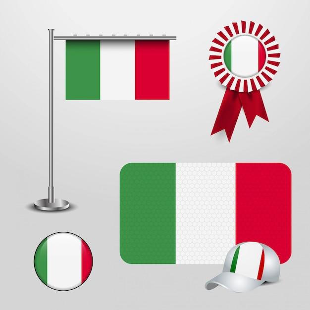 Bandiera dell'italia con il vettore di disegno creativo Vettore Premium