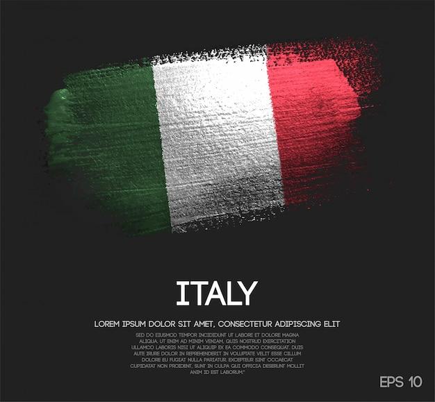 Bandiera dell'italia fatta di glitter brush brush paint Vettore Premium