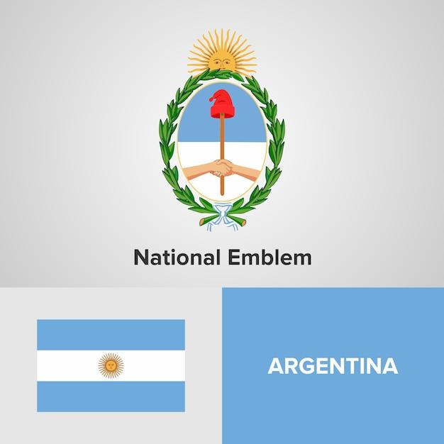 Bandiera della mappa argentina e emblema nazionale Vettore Premium