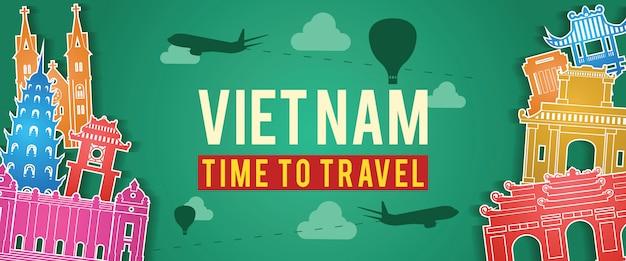 Bandiera della sagoma famoso punto di riferimento del vietnam Vettore Premium