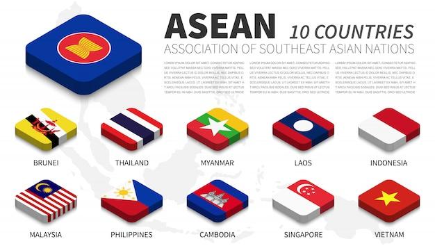 Bandiera di asean e appartenenza e sfondo mappa del sud-est asiatico. design superiore isometrico. vettore Vettore Premium
