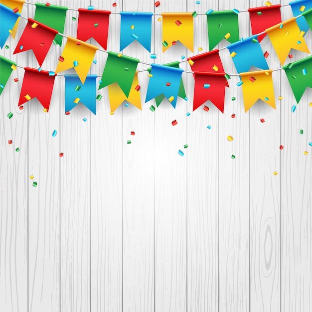 Bandiera di celebrazione del partito su fondo di legno bianco Vettore Premium