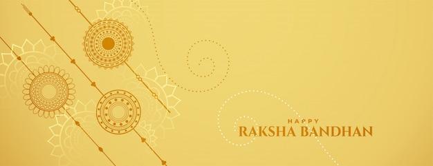 Bandiera di celebrazione di raksha bandhan con rakshi Vettore gratuito