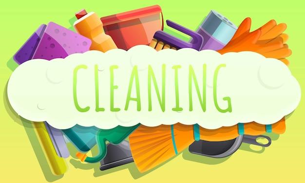 Bandiera di concetto di pulizia, stile cartoon Vettore Premium