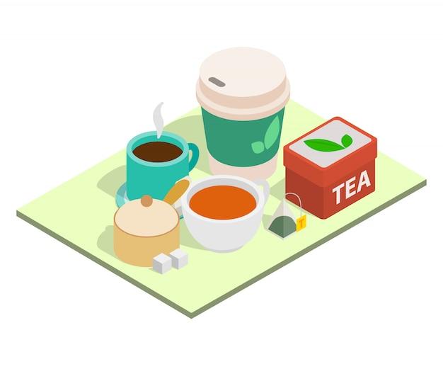 Bandiera di concetto di tempo del tè, stile isometrico Vettore Premium