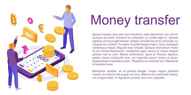 Bandiera di concetto di trasferimento di denaro veloce, stile isometrico Vettore Premium