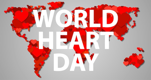 Bandiera di giornata internazionale del cuore, stile cartoon Vettore Premium