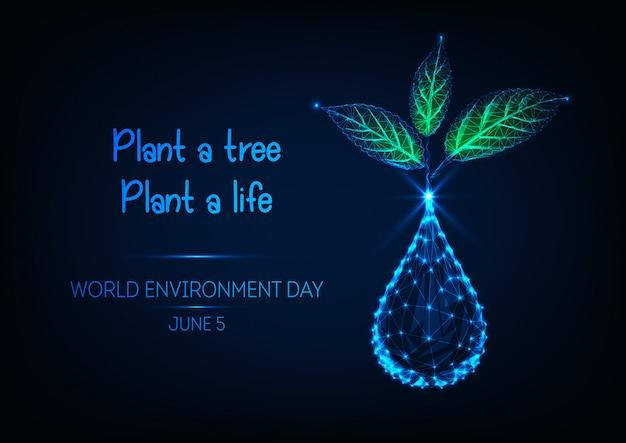 Bandiera di giornata mondiale dell'ambiente con goccia d'acqua Vettore Premium