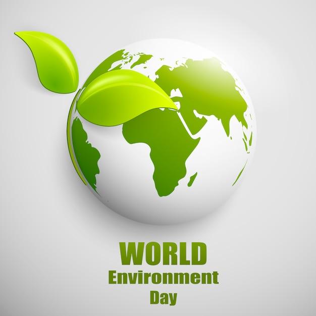 Bandiera di mondo ambiente giorno con globo terrestre Vettore Premium