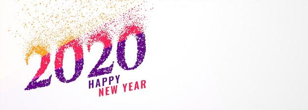 Bandiera di nuovo anno 2020 alla moda astratta con le scintille Vettore gratuito