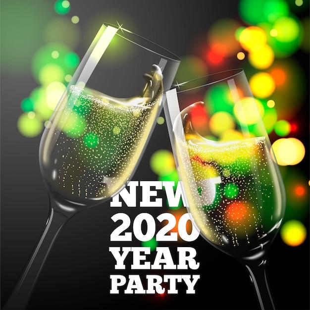 Bandiera di nuovo anno 2020 con bicchieri di champagne trasparenti su sfondo luminoso Vettore Premium