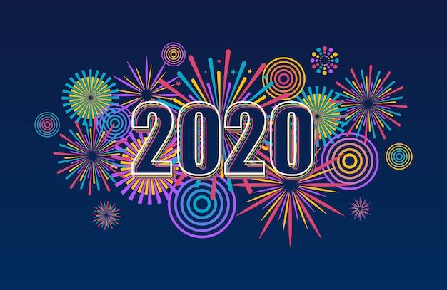 Bandiera di nuovo anno 2020 con fuochi d'artificio. sfondo di fuochi d'artificio vettoriale. Vettore Premium