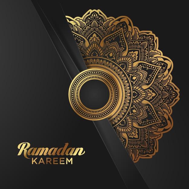 Bandiera di ramadan kareem della stagnola di oro su fondo nero Vettore Premium