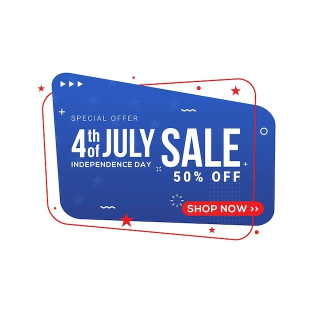 Bandiera di vendita di giorno di indipendenza degli stati uniti del quarto di luglio Vettore Premium