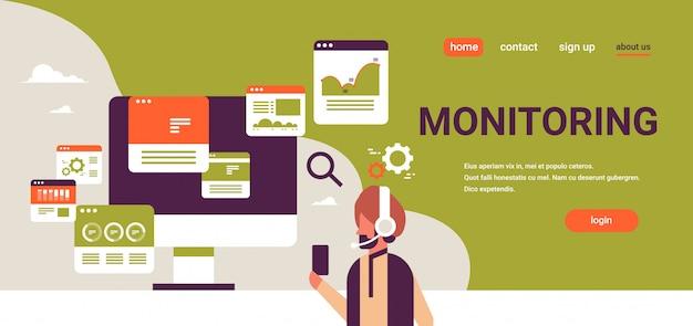 Bandiera di vendita di monitoraggio commercio online auricolare uomo d'affari indiano Vettore Premium