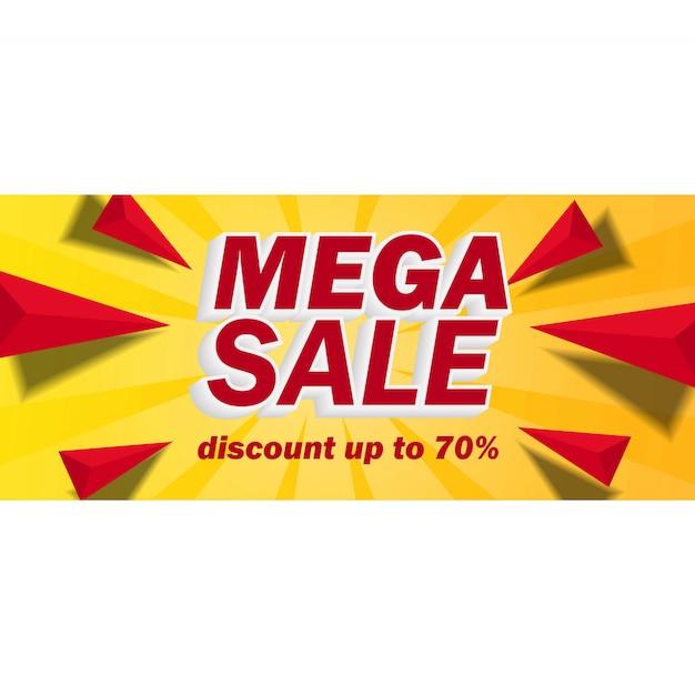 Bandiera di vendita mega con sfondo giallo Vettore Premium