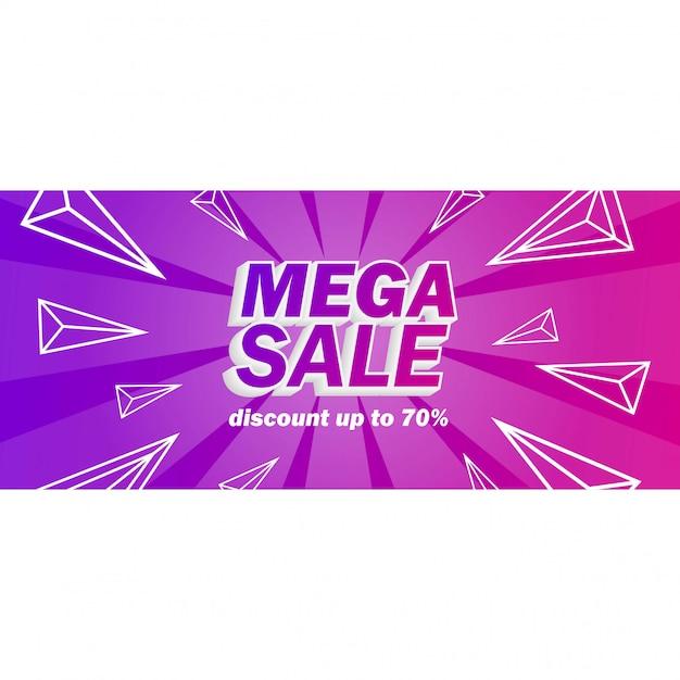 Bandiera di vendita mega con sfondo viola Vettore Premium