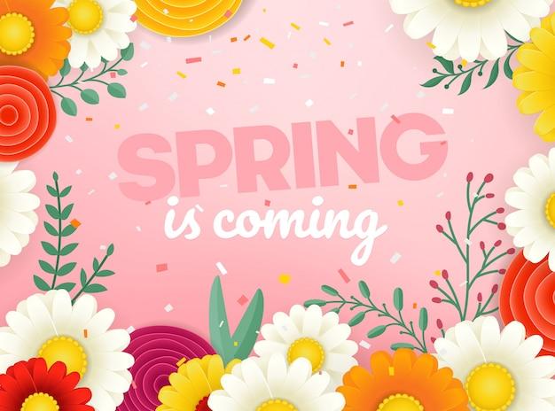 Bandiera di vettore di vendita di primavera. illustrazione vettoriale fotoreal con fiori Vettore Premium