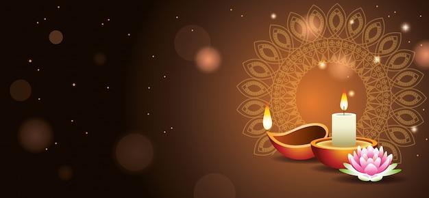 Bandiera felice di celebrazione indiana di diwali con la candela Vettore Premium