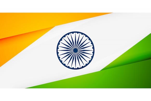 Bandiera indiana nella bandiera di stile geometrico Vettore gratuito