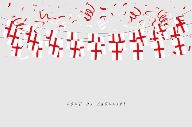 Bandiera Inghilterra Ghirlanda Con Coriandoli Su Sfondo Grigio