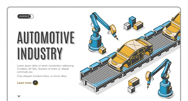 Bandiera isometrica dell'industria automobilistica Vettore gratuito