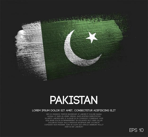 Bandiera pakistana realizzata con glitter scintillio pennello Vettore Premium