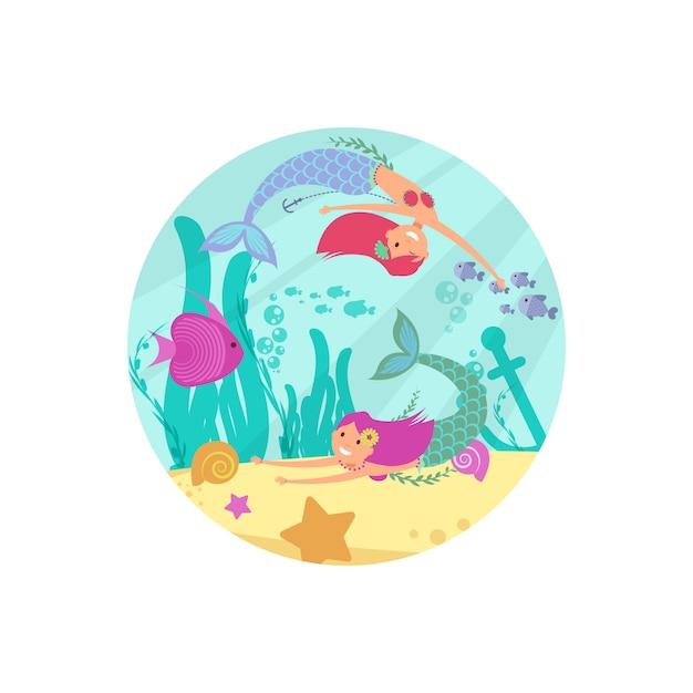 Bandiera subacquea da favola del fumetto con sirene e pesci Vettore Premium
