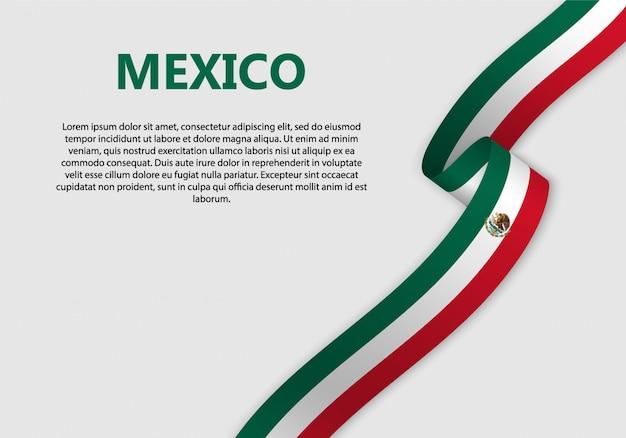 Bandiera sventolante bandiera del messico Vettore Premium