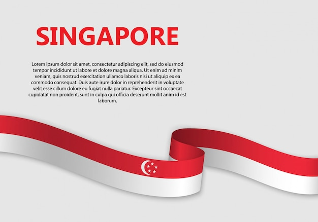 Bandiera sventolante bandiera di singapore Vettore Premium