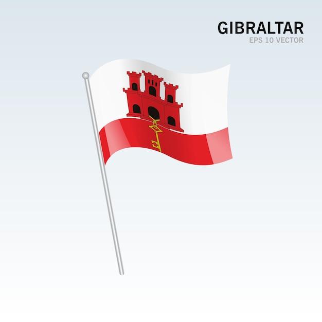 Bandiera Sventolante Di Gibilterra Isolato Su Sfondo Grigio
