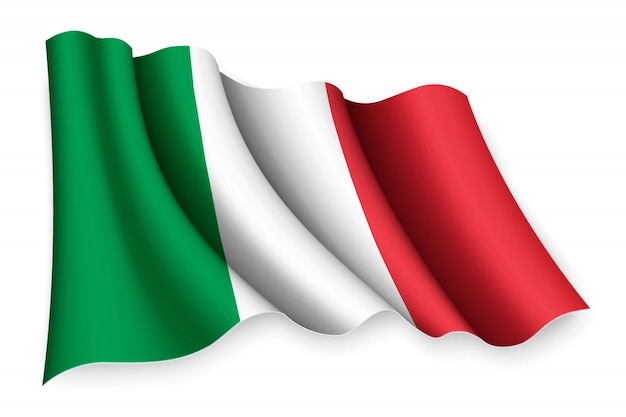 Bandiera sventolante realistica Vettore Premium