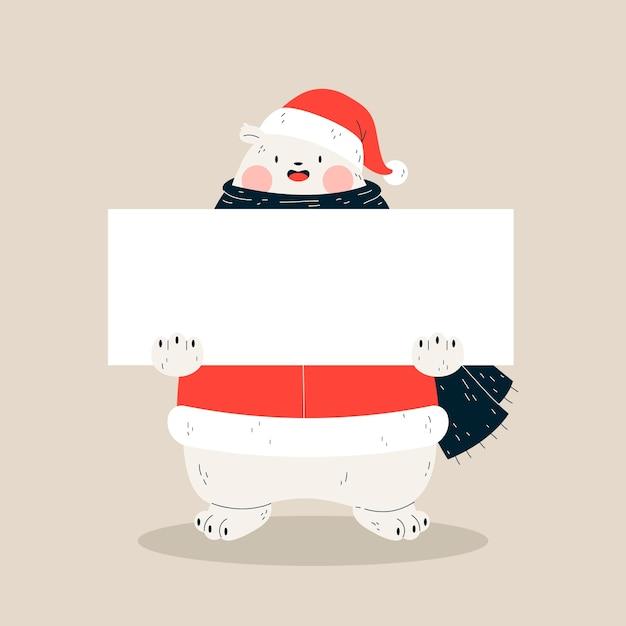 Bandiera vuota e orso polare con sciarpa e cappello di babbo natale Vettore gratuito