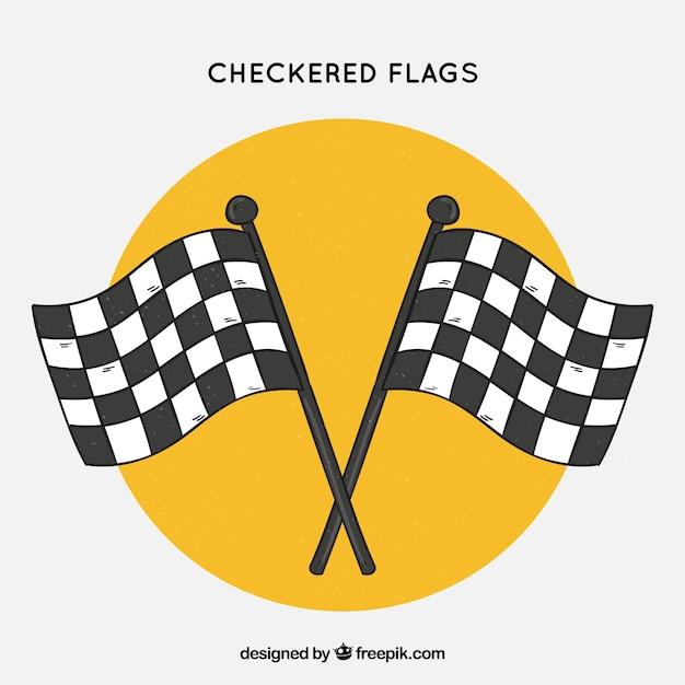 Bandiere a scacchi disegnate a mano classiche Vettore gratuito