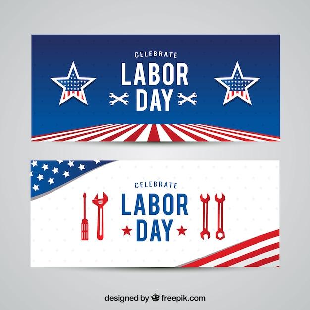 Bandiere americane del giorno del lavoro Vettore gratuito