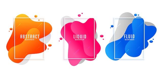 Bandiere astratte di forma liquida in diversi colori Vettore gratuito