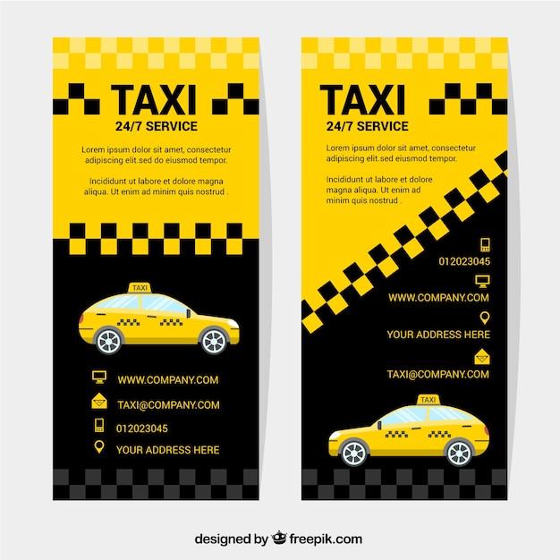Bandiere astratte di un taxi Vettore gratuito